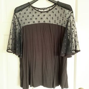 Women's Sheer Polka Dot Top